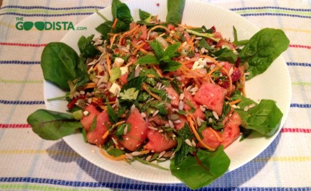Watermelon Salad with Feta, Sundried Tomato and Crunch