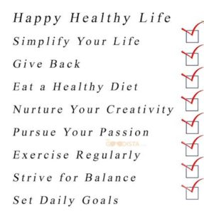 Healthy lifestyle commitment, illustrated by examples of 'goals'.