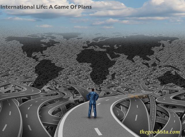 International life means multi planning, logistical acrobatics and networking. It is not a game, but one you can win if you plan well. Illustrated by man standing looking at many roads forming a map of the continents.