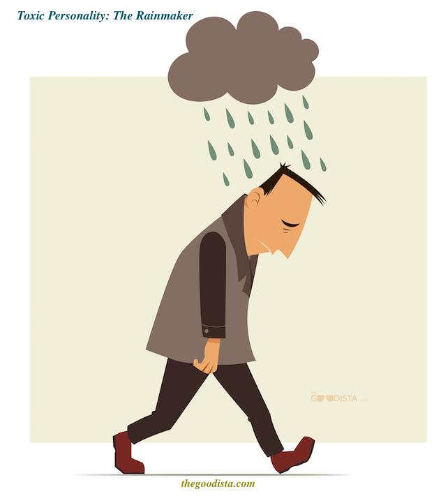 Negativity and toxic personality type illustrated by constantly sad man, called the rainmaker.