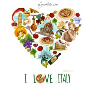 Italian food guide to eating out in Italy, illustrated by heart made up of Italian foods and monuments.
