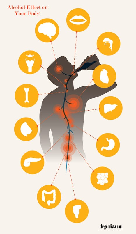 Alcohol Effect on Body illustrated by man drinking and organs highlighted.
