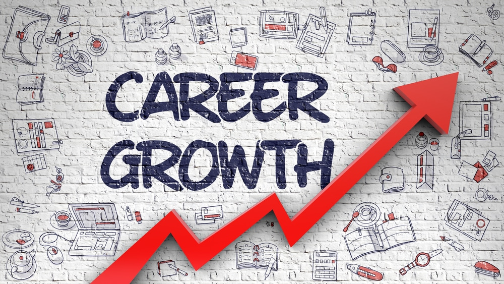 career boost illustrated by word career growth